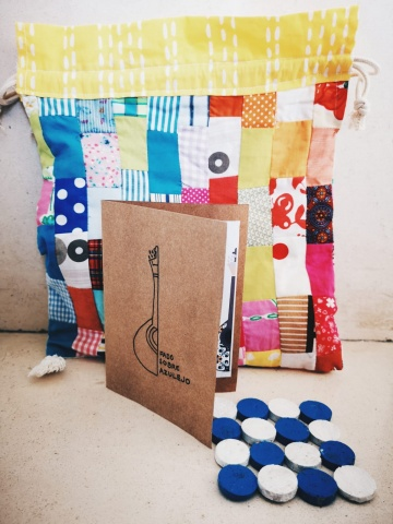 Postal de Agradecimento + Base para Copos + Saco de Pano